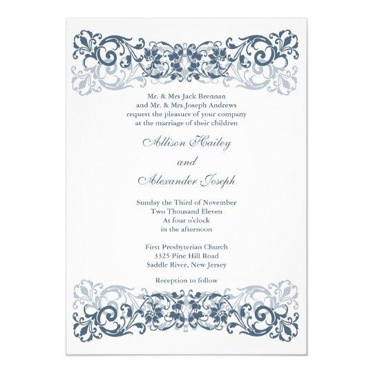Vintage Scroll Wedding Invitation