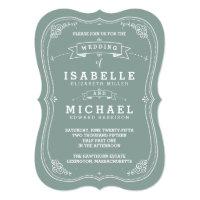 Vintage Scroll Wedding Invitation | Green