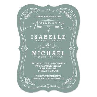 "Vintage Scroll Wedding Invitation | Green 5"" X 7"" Invitation Card"