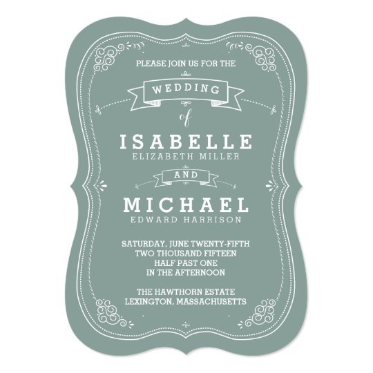 vintage scroll wedding invitation green zazzle com