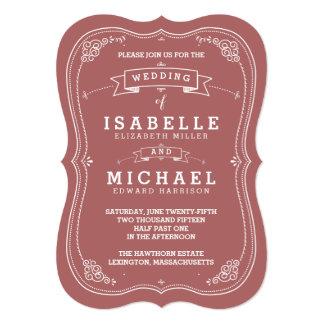 Vintage Scroll Wedding Invitation   Marsala
