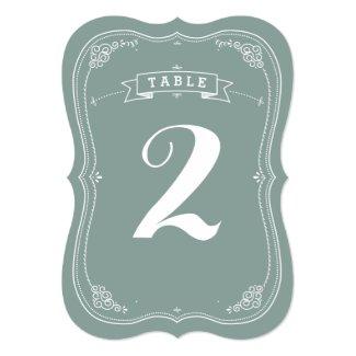 "Vintage Scroll Wedding Table Number 5"" X 7"" Invitation Card"
