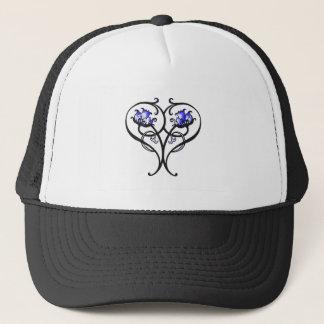 Vintage Scrolling Flowers Blue Trucker Hat