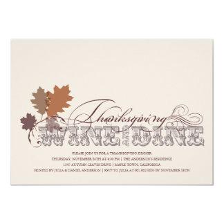 Vintage Scrolls Autumn Leaves Thanksgiving Dinner 4.5x6.25 Paper Invitation Card