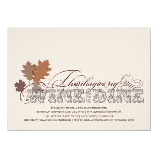 Vintage Scrolls Autumn Leaves Thanksgiving Dinner 4.5x6.25 Paper Invitation Card