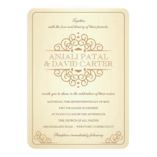 "Vintage Scrolls Contemporary Casual Wedding 4.5"" X 6.25"" Invitation Card"
