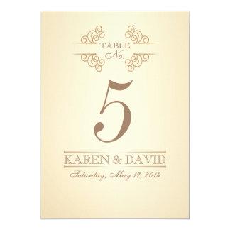 Vintage Scrolls Custom Wedding Table Number Cards