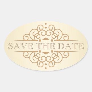 Vintage Scrolls Save the Date Wedding Labels Sticker