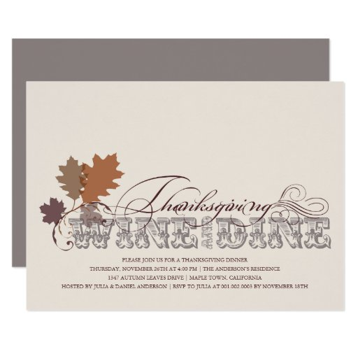 Vintage Scrolls Thanksgiving Wine and Dine Invite