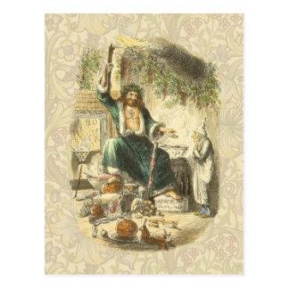 Vintage Scrooge Ghost of Christmas Present Postcard