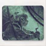 Vintage Scuba Diver Industrial Welding Underwater Mousepad