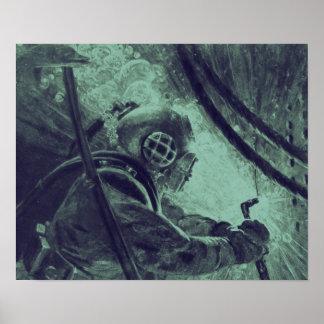 Vintage Scuba Diver Industrial Welding Underwater Poster