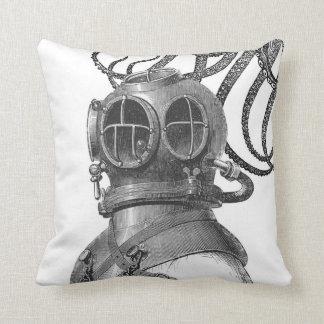 Vintage Scuba Diver & Squid Black & White Pillow