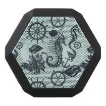 Vintage Sea Animal Pattern Black Bluetooth Speaker