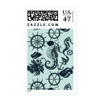 Vintage Sea Animal Pattern Postage