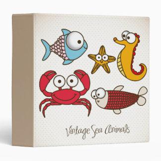Vintage Sea Animals 3 Ring Binder