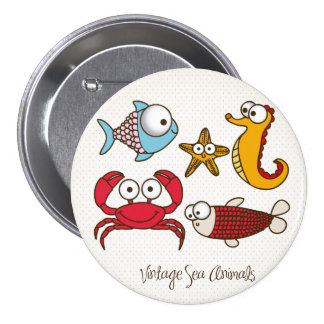Vintage Sea Animals Button