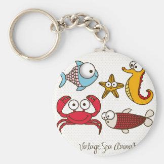 Vintage Sea Animals Button Keychain