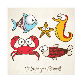 Vintage Sea Animals Canvas Print