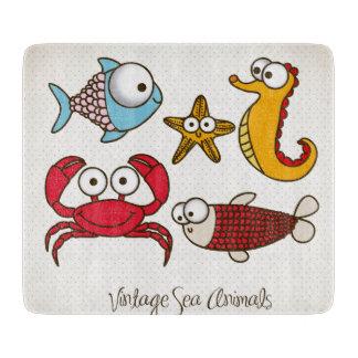 Vintage Sea Animals Cutting Board Glass