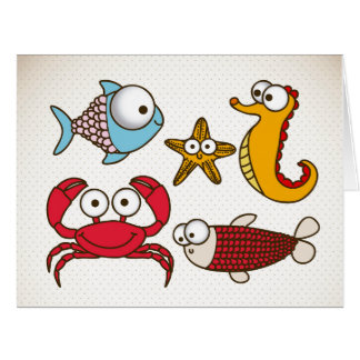 Vintage Sea Animals Greeting Card