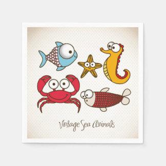 Vintage Sea Animals Paper Napkin
