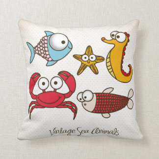 Vintage Sea Animals Pillow