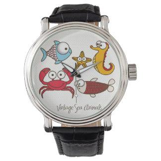 Vintage Sea Animals Vintage Leather Strap Black Wristwatches