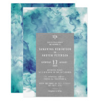 Vintage sea blue watercolor elegant kraft wedding invitation
