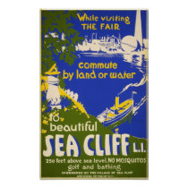 Vintage Sea Cliff New York Travel Poster