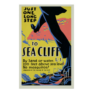 Vintage Sea Cliff Travel Poster