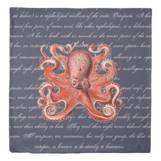 Vintage Sea Creature Octopus Definition Duvet Cover