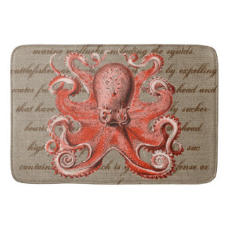 Vintage Sea Creature Pink Octopus Nautical Bathroom Mat