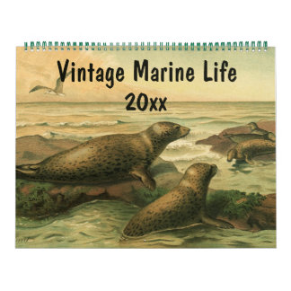 Vintage Sea Creatures and Ocean Marine Life Animal Calendar