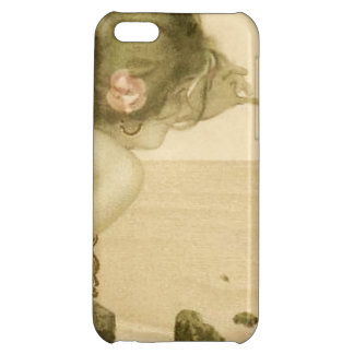 Vintage Sea Girl With Pink Rose Case For iPhone 5C