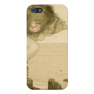 Vintage Sea Girl With Pink Rose Cases For iPhone 5