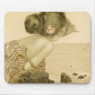 Vintage Sea Girl With Pink Rose Mouse Pad