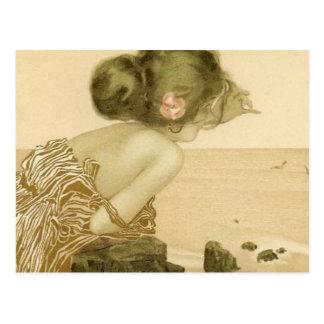 Vintage Sea Girl With Pink Rose Postcard