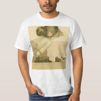 Vintage Sea Girl With Pink Rose T-shirt