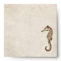 Vintage Sea Horse Beach Envelope