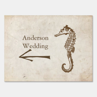 Vintage Sea Horse Beach Wedding Sign