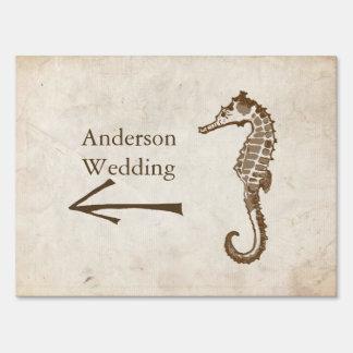 Vintage Sea Horse Beach Wedding Lawn Signs