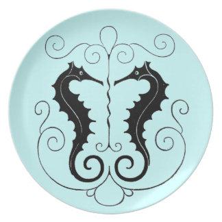 VIntage Sea Horse Design Melamine Plate