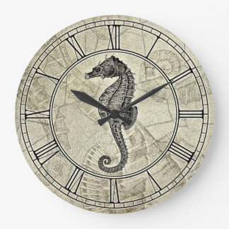 Vintage Sea Horse Illustration Large Clock