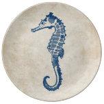 Vintage Sea Horse Porcelain Plates