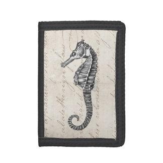 Vintage Sea Horse - Retro Seahorse Template Tri-fold Wallet