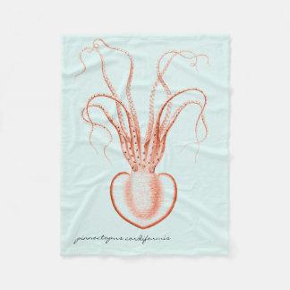 Vintage Sea Life Scientific Oceanography Octopus Fleece Blanket