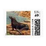 Vintage Sea Lion by the Seashore, Marine Mammal Stamps