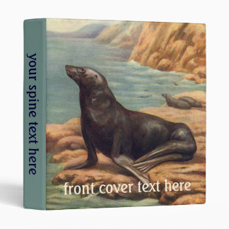 Vintage Sea Lion by the Seashore, Marine Mammals 3 Ring Binder