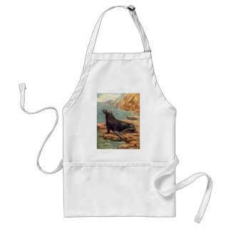 Vintage Sea Lion by the Seashore, Marine Mammals Adult Apron